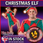 CHRISTMAS FANCY DRESS # ADULT MENS ELF COSTUME ONE SIZE